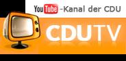 Der Button enthält einen Bildschirm mit der Aufschrift CDU TV und einen Hinweis auf Youtube.